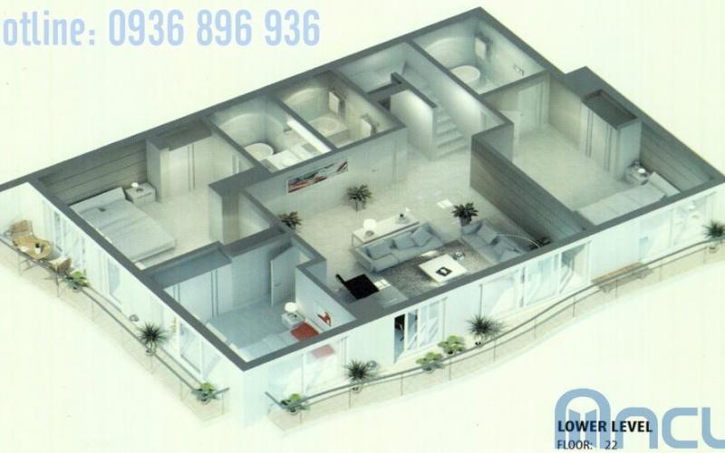 Căn hộ Sapphire 5-6 tòa golden westlake 4 phòng ngủ, tầng 22-23