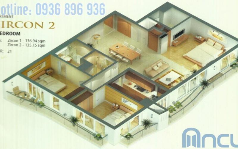 Căn hộ Zircon 3 phòng ngủ 136m2 Golden Westlake